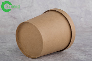 Single Wall Thick Kraft Paper Soup Cups , Carton Brown 8 Oz Paper Cups With Lids