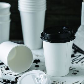 12oz Custom Logo Disposable Insulated Paper Cups White Eco Friendly Takeaway